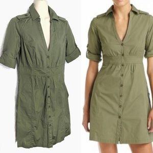 MNG by Mango Olive Stretch Cotton Safari Dress M